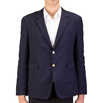 Prada Men's Woven Cotton Sportscoat Jacket Navy Blue