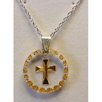 Hand Painted Small Round Cross Crystal Pendant - Gold