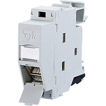 Network outlet DIN rail CAT 6A Metz Connect 130B127003-E Grey-white (RAL 7035)