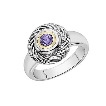 18k Gold And Sterling Silver Amethyst Ring