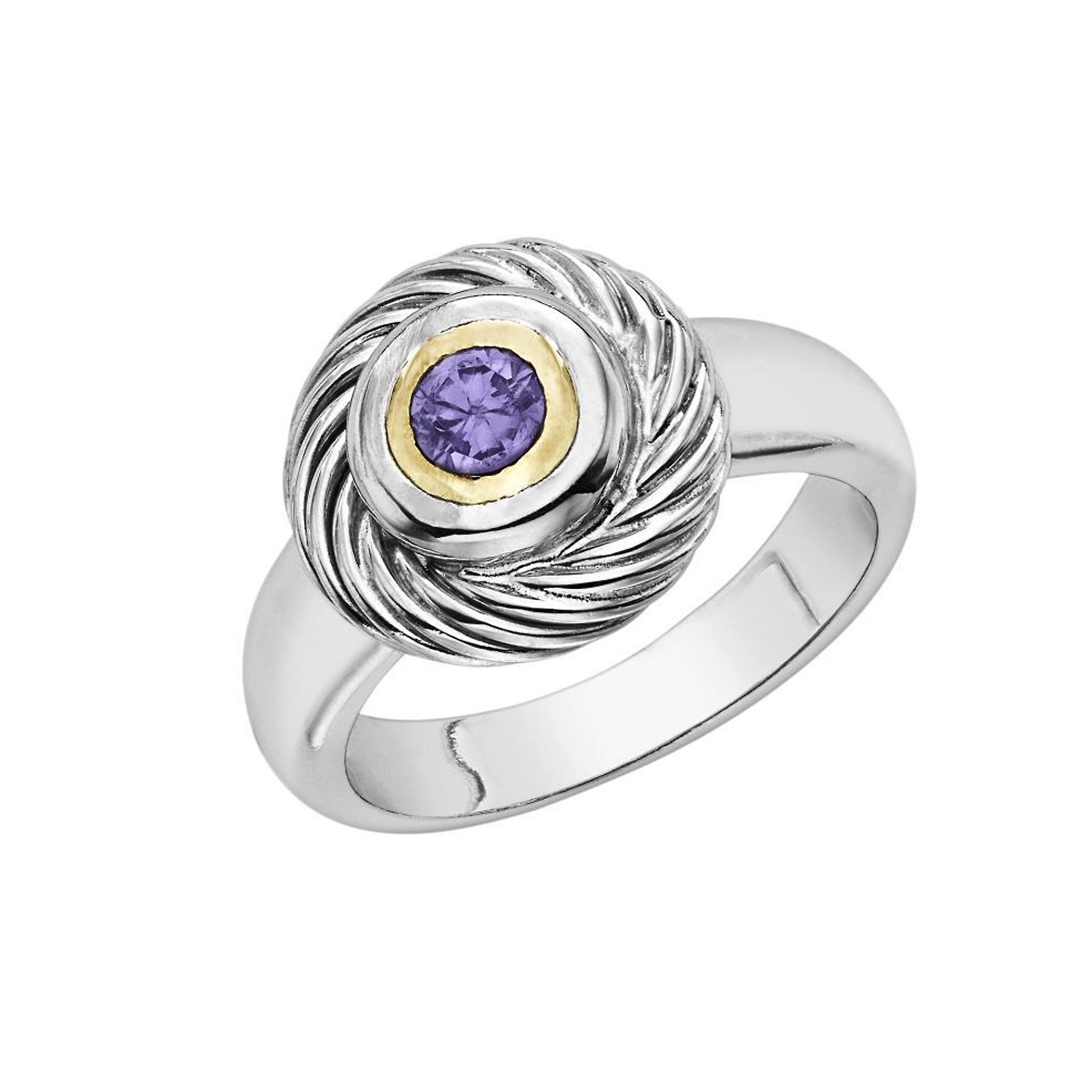 18k or And Sterling argent Amethyst Ring