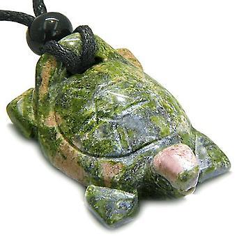 Amulet lykkebringer Turtle halskjede Gemstone åndelige beskyttelse driver HCarved anheng halskjede