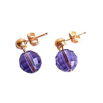 Gemshine - Damen - Ohrringe - *Tansanit* - Blau - Violett - Lila - Vergoldet - MADE WITH SWAROVSKI ELEMENTS® - 1 cm