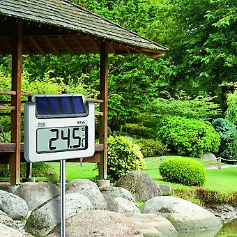 Solar Garden thermometer digital lighting aluminum Rod holder