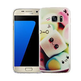 サムスン銀河 S7 カバー ケース保護バッグ モチーフ スリム シリコーン TPU レタリング マシュマロ携帯電話ケース