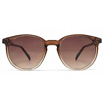 French Connection Keyhole Round Sunglasses In Gradient Brown