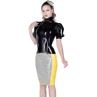 Westward Bound Sophia Latex Pin Stripe Pencil Skirt Black With Trans Black Trim