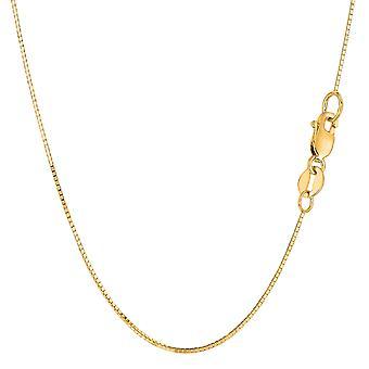 14 k żółty Solid Gold Mirror pole naszyjnik łańcuch, 0.7mm