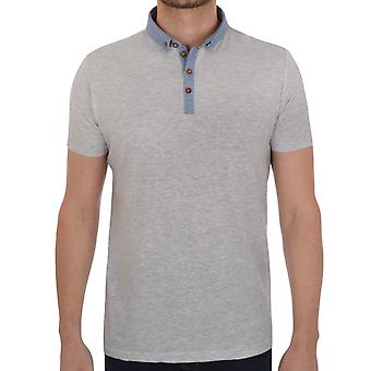 Brave Soul Mens Chimera Short Sleeve Collar Plain Polo Shirt Top - Grey Marl