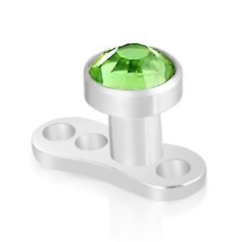 Implantar micro Dermal Anchor Top Piercing, joyería del cuerpo, piedra verde