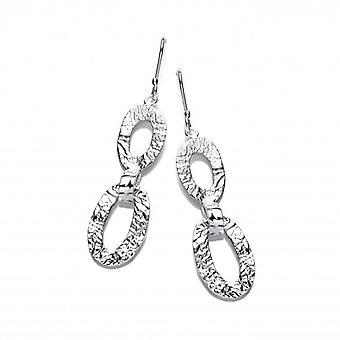 Cavendish franske tekstureret sølv ovaler øreringe