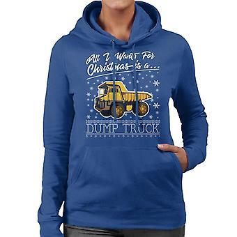 Tudo o que eu quero de Natal é moletom com capuz um caminhão de descarga feminino