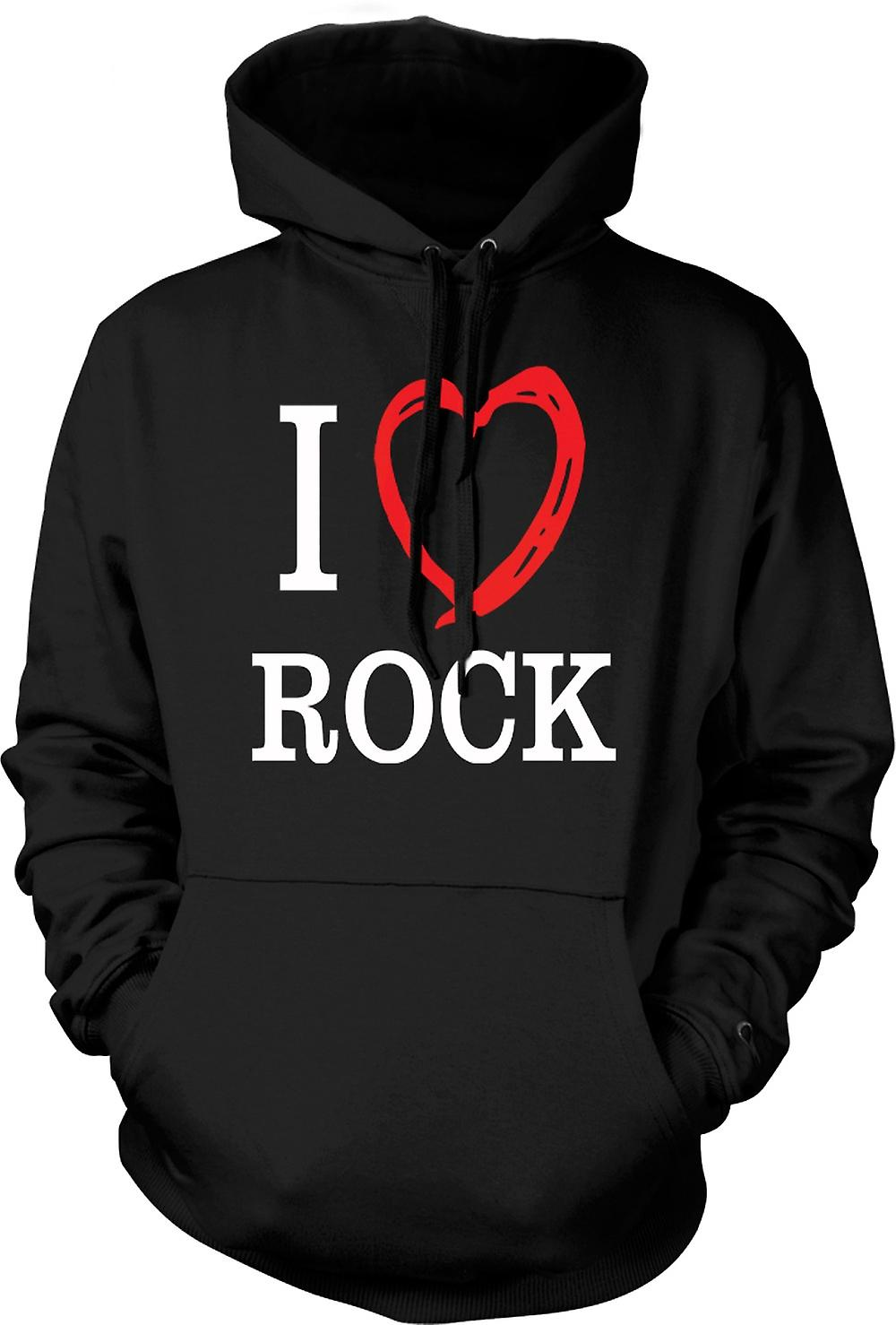 Mens Hoodie - I Love Rock Music Band - Quote