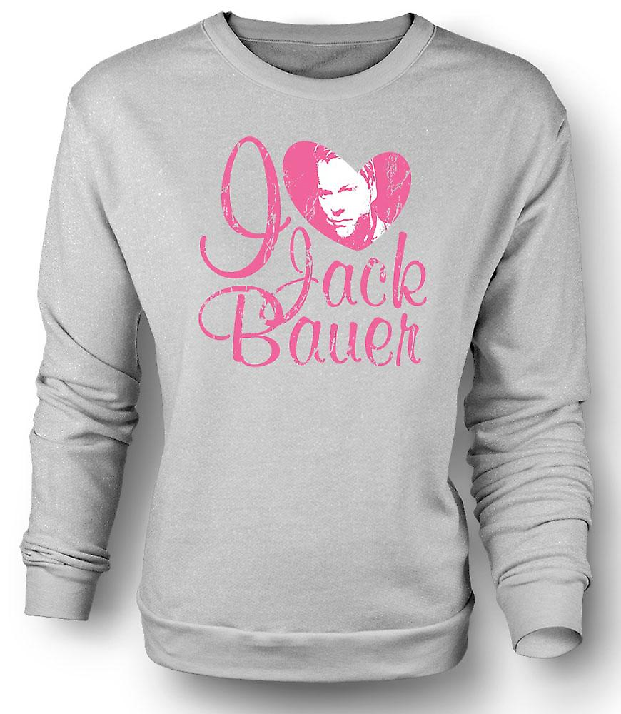 Mens Sweatshirt I Love Jack Bauer 24 - Keifer - Tv - Movie