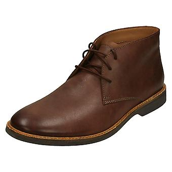 Mens Clarks Casual Ankle Boots Atticus Limit - Mahogany Leather - UK Size 6.5G - EU Size 40 - US Size 7.5M