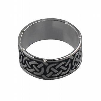 Silver oxidized 8mm Celtic Wedding Ring Size L