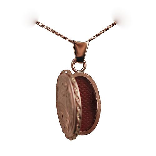 9ct Rose gold 20x13mm hand engraved oval twisted wire edge Locket with a curb chain