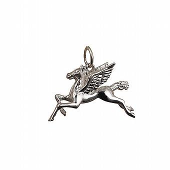 Silver 29x27mm solid Pegasus in Flight Pendant or Charm