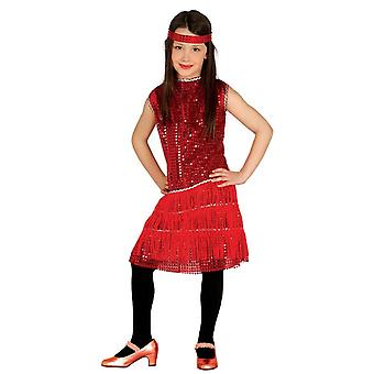 Girls1920s Red Flapper Fancy Dress Costume