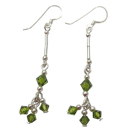 Peridot Crystals Earrings In Sterling Silver French Wire Earrings