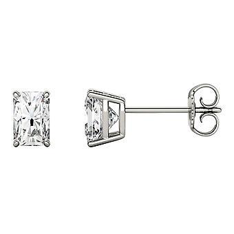 14K White Gold Moissanite by Charles & Colvard 6x4mm Radiant Stud Earrings, 1.40cttw DEW