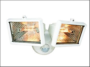 Byron ES120/2W Twin Halogen Floodlight with Motion Detector White 150 Watt