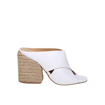 Paloma Barceló White Leather Slippers