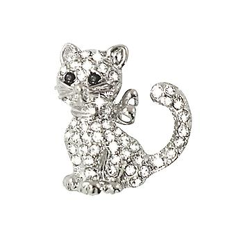 Eternal Collection Yvette Clear Crystal Silver Tone Cat Brooch