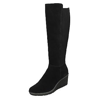 Ladies Clarks Wedge Heel Knee High Boots Hazen Madison