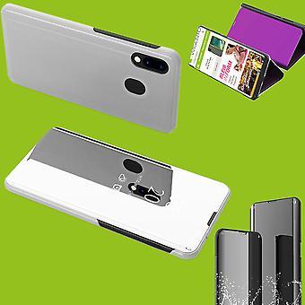 Für Huawei P Smart Plus 2019 Clear View Spiegel Mirror Smartcover Silber Schutzhülle Cover Etui Tasche Hülle Neu Case Wake UP Funktion