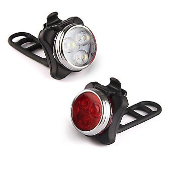 LED Bicycle Light Flashlight Lighting Lamps Headlights Front PLUS Rear Light - With Mount for Bike - Black