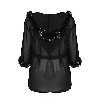 DREAMGIRL Schwarze Chiffon Hooded Robe mit funkelnden Feather-Trim