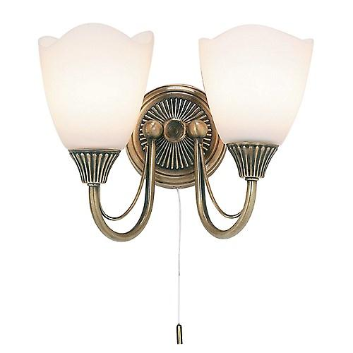 Endon 601-2AN Switched Traditional 2 Arm Wall Light With Opal Glass