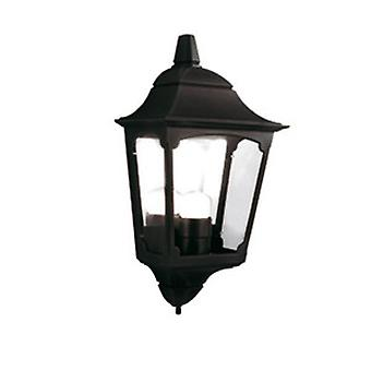 Traditional Outdoor Black 3 Side Wall Half Lantern IP43 Rated