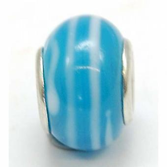 TOC BEADZ Blue & Stripes 9mm Glass Slide-On Off Bead