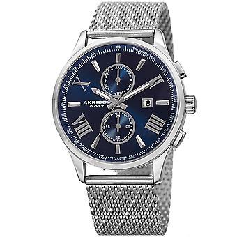 Akribos XXIV Männer Schweizer Quartz Multifunktion Edelstahl Mesh Silver-Tone Armband Watch AK905SSBU