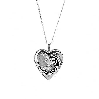 Eternity Sterling Silver Rhodium Plated Heart Diamond Cut Locket And 18