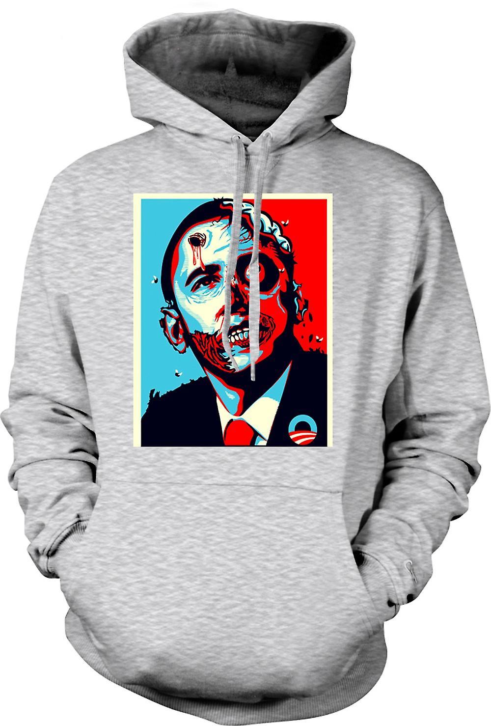 Mens Hoodie - President Obama Zombie - Funny