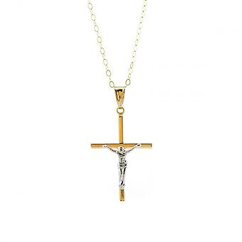 Eternity 9ct 2 Colour Gold  Crucifix Pendant And 16'' Trace Chain