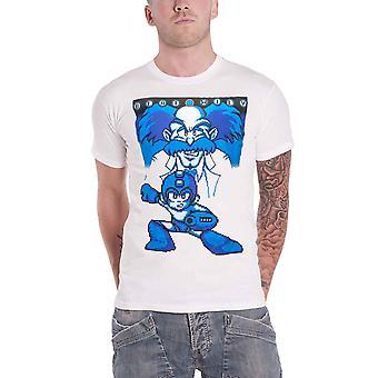 Megaman T Shirt Beat Wily Rockman pixel Logo new Official Nintendo Mens White