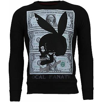 Play Bunny 69-Rhinestone Sweatshirt-Black