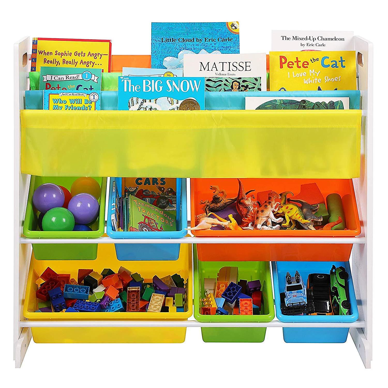 Kleurrijk opbergrek met 6 boxen en 3 boekenhouders