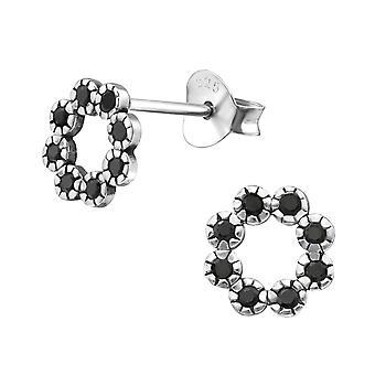 Cirkel - 925 Sterling sølv Cubic Zirconia øret knopper - W30815X