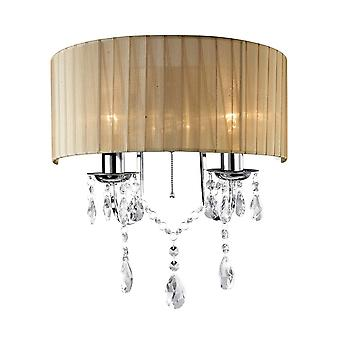 Diyas IL30061 Olivia Wall Lamp Switched With Soft Bronze Shade 2 Light Polished Chrome/Crystal