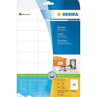 Herma 4360 Labels (A4) 70 x 36 mm Paper White 600 pc(s) Permanent All-purpose labels, Address labels Inkjet, Laser, Copi