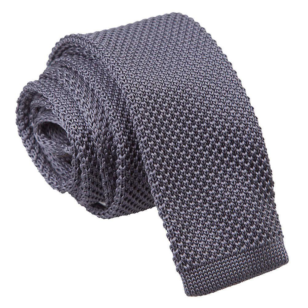 Charcoal Skinny Knitted Tie
