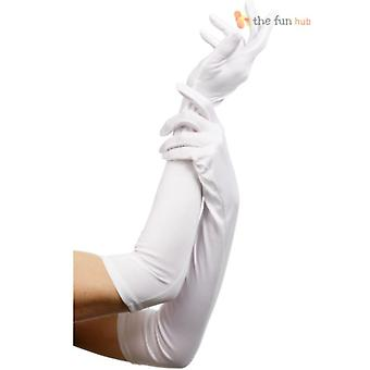 LADIES SATIN PARTY DRESS PROM EVENING WEDDING BRISAL LONG WHITE OPERA GLOVES