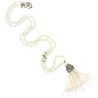 Kenneth Jay Lane Antique Silver Crystal  and  Pearl Tassel Pendant Necklace