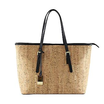 Women's handbag with shoulder strap internal CTM, genuine leather made in Italy with Cork lining
