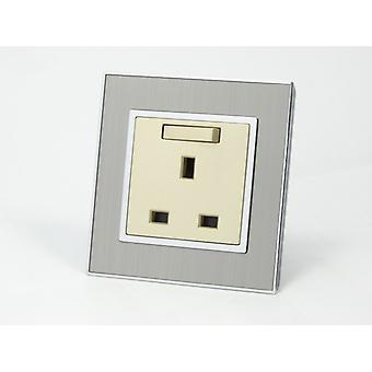 I LumoS AS Luxury Silver Satin Single Switched Wall Plug 13A UK Sockets